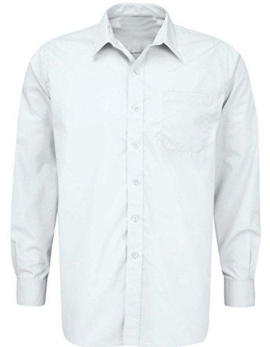 School Uniform ragazzo/uomo lavoro Formal Wear-Maglietta a maniche lunghe, da collo