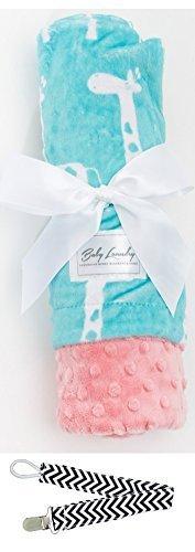 "Baby Laundry 91339 Soft Minky Giraffe Topaz Baby Blanket 36""x30"" with Pacifier Clip - 1"