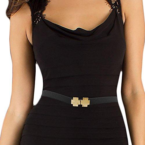 LUNA Fashion 1 Inch Elastic Cinch Belt - Cross - Antique Gold