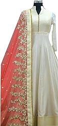 Lakshmi Fashion Creation Women's Tassar Silk Dress Material ( Cream )