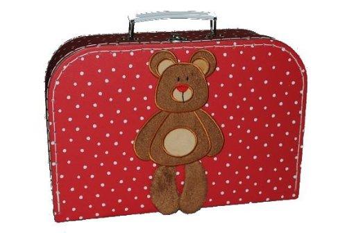 Kinderkoffer Groß rot weiße Punkte Teddy Bär