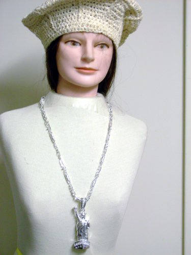 Nc34, Hand Crocheted Ivory Chenille and Gimp Tweed Beret for Women and Teens in Combination with Sterling Silver Long Chain Necklace with Lady Liberty Pendant