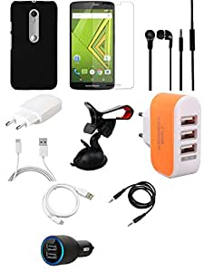NIROSHA Tempered Glass Screen Guard Cover Case Charger Headphone USB Cable Mobile Holder for Motorola Moto Xplay - Combo