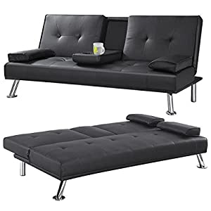 Checknow Modern Double TV Cinema Sofa Bed Faux Leather Fold Out Chair Bed Guest Z Sofa bed Futon folding Mattress with Fold Down Table Drinks Holder (Black)