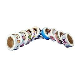 SkyPulse Colorful Japanese Washi Masking Tape with Fashion Pattern Designs, Scrapbooking, Journaling, Cards, DIY, Arts & Crafts,15mm*10m Long
