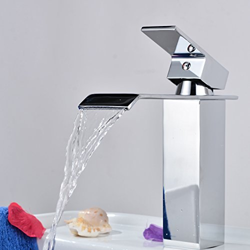 rozin Deck Mount One Single Handle Square Bath Mixer Taps Widespread Waterfall Bathroom Sink Faucet Chrome