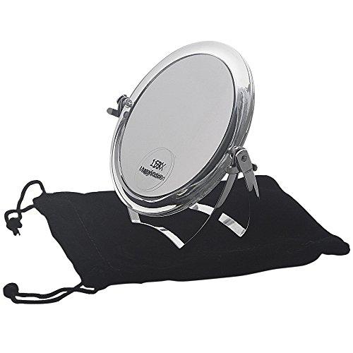 Kosmetex Reise Standspiegel mit 15-fach Vergrößerung, Acryl mit Metallbügel, 2 Spiegelflächen, Kosmetik-Spiegel