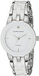 Anne Klein Women's AK/1611WTSV Diamond Dial Silver-Tone and White Ceramic Bracelet Watch
