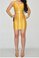 bebe Size Large Gold Lurex Yellow Coated Trim Cutout Dress
