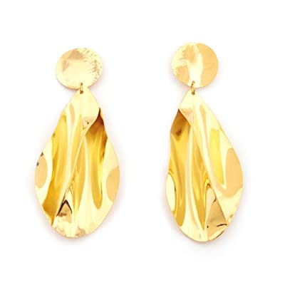 Gold Pleat Earrings by Sibilia