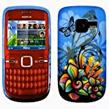 Cooltechstuff Nokia C3-00 Butterfly Print Soft Silicone TPU Blue Case Cover - Part of Cooltechstuff Store Accessories