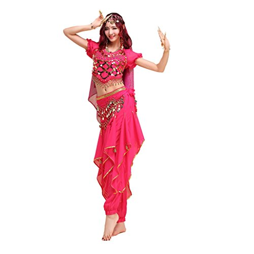 Pilot-trade lady's Belly Dance Costume Colorful Top&Gold Wavy Pants&Hip Scarf
