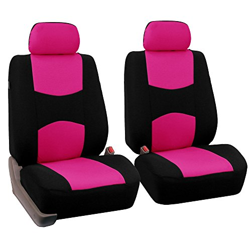 FH Group Universal Fit Flat Cloth Pair Bucket Seat Cover, (Pink/Black) (FH-FB050102, Fit Most Car, Truck, Suv, or Van) (Bucket Seat Covers Pink compare prices)