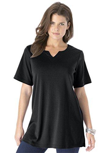 Roamans Women's Plus Size Notch Neck Tunic - Solid Colors Black,3