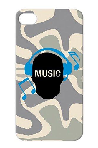 Navy Geek Miscellaneous Text Geek Earphones Music Skull Music Listen To Funny Notes Music Headphones Skull Note Skull For Iphone 4S Tpu Drop Resistant Case