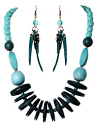 Sharnam Art Striking Green Wooden Funky Necklace Set - SH301_8681