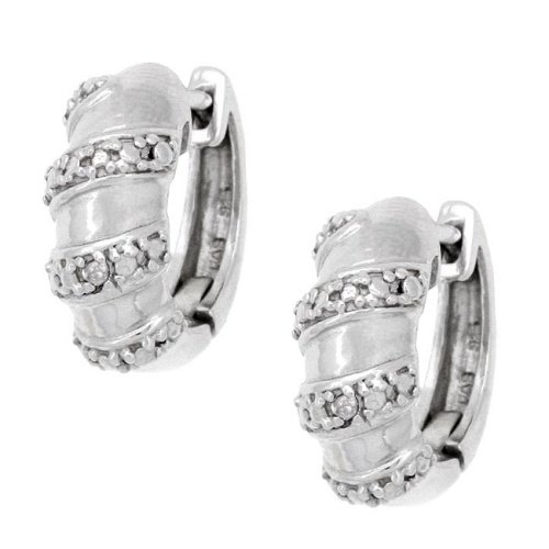 Sterling Silver Diamond Accent Swirl Hoop Huggie Earrings