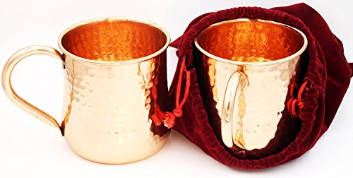Pure Copper Moscow Mule Mugs Hammered Handcrafted (No Nickel Interior) - Box of 2 16oz Cups - Wrapped In Classy Red Velvet Pouch - Bonus Recipe Care Book - Buy 2 for Set of 4 - Makes Awesome Present
