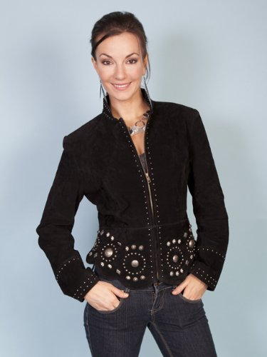 Scully Women's Studded Suede Jacket Black Medium