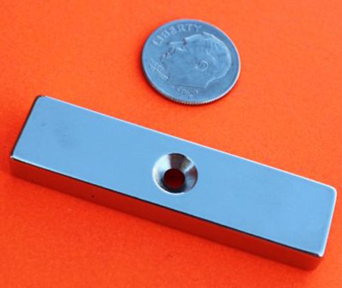 "Applied Magnets® 2 Piece 2"" X 1/2"" X 1/4"" Dual Sided Countersunk Center Hole Grade N42 Neodymium Bar Magnets"