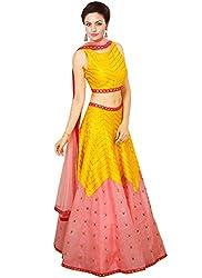 Rozdeal Designer Yellow and Pink leriya Style Navratri Collection Lehnega Choli