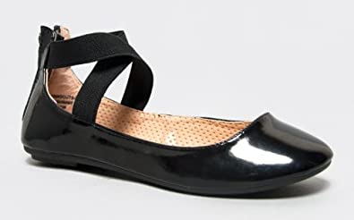 Bamboo STANDOUTS-17A Criss Cross Elastic Strappy Ballet Flat, Black Patent, 7 B(M) US