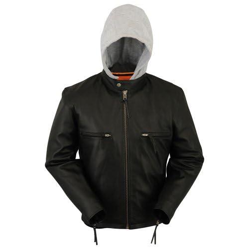 Mens Hooded Black Leather Motorcycle Jacket [Medium]