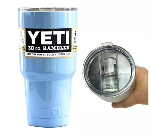 YETI Coolers 30 oz (30oz) Powder Coated Stainless Rambler Tumbler Cup with Exclusive Spill Proof and Resistant Lid (Baby Blue)