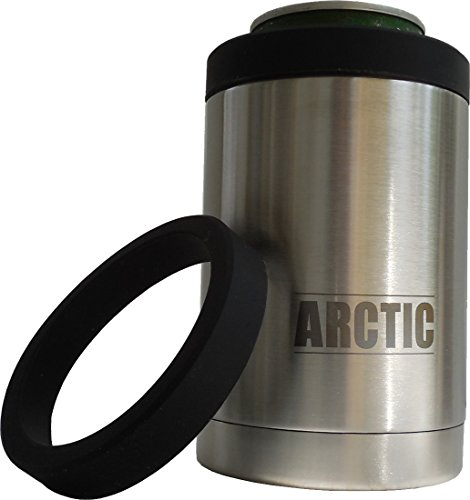 Double Wall Vacuum Insulated Can Cooler, Stainless Steel Keeps 12 oz Cans and Bottles Arctic Cold, Comes with Spare Push-On Snug Fit Gasket (Can Holder Cooler compare prices)