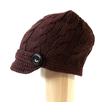 7headz Womens Hand Made Cable Knitted Short Soft Trendy 1 inch Visor Cab Driver Newsboy Hat with Side Wooden Buttons available in Knitt at Sears.com