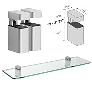 Dolle Uni Silver Adjustable Glass Shelf Brackets - Pair