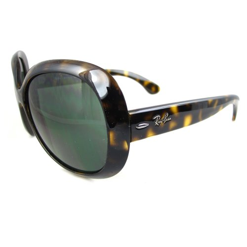 Image of Ray-Ban Women's RB4098 Non-Polarized Jackie OHH II Sunglasses,Tortoise Frame/Green Solid Lens,60 mm