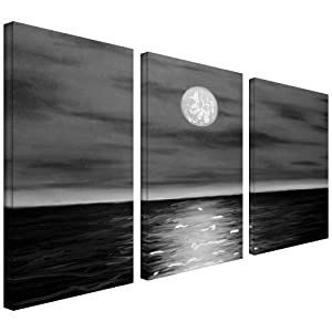 Amazon.com: Art Wall 3-Piece Moon Rising Gallery Wrapped Canvas Art by Jim Morana, 36 by 24-Inch