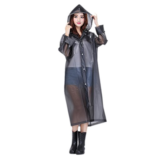 Women Packable Lightweight Transparent EVA Rain Jacket Poncho Raincoat with Hood (Women Raincoat With Hood compare prices)