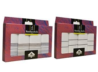 2 lots de 4 Mouchoirs Blancs Simple Style Rayure pour Hommes, Impressions Assorties