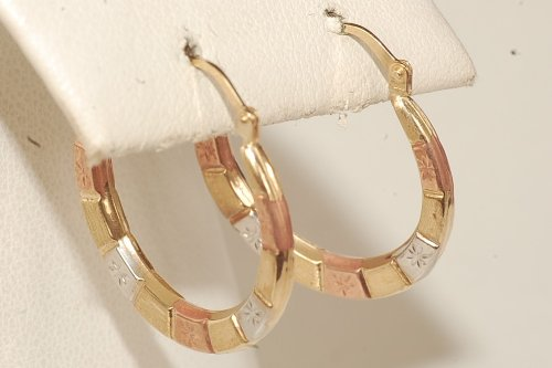 10k Yellow Gold Hoop Baby/children Tri Color Earring Brand New