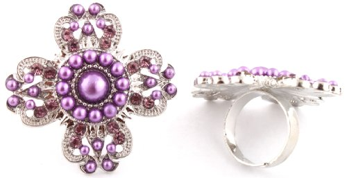 Ladies Silver with Purple Clover Style Adjustable Pearl Finger Ring