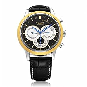JARAGAR Men's Analog 3 Dial Mechanical Automatic Black Wristwatch