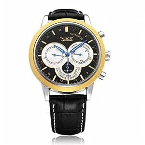 JARAGAR Men's Analog 3 Dial Mechanical Automatic Black Wristwatch