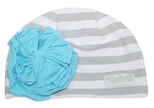 Woombie Cotton Flower Hats, Striped Hat Aqua Flower, 0-6m - 1