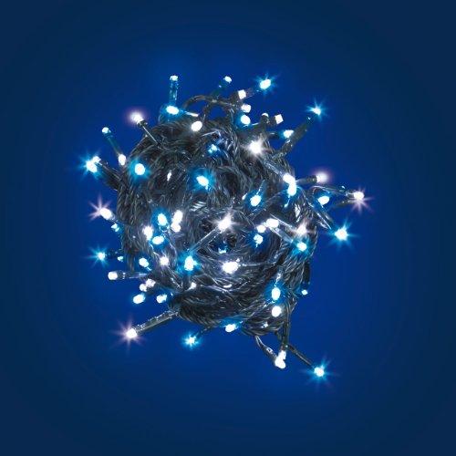 Catena bicolore 7 m, 96 led bianchi e blu, cavo verde, con memory controller, luci di Natale, luci colorate, luci per l'albero di Natale, decorazioni luminose