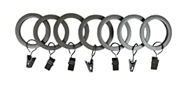 UMBRA 1-Inch Square-Edge Clip Drapery Rings (Pewter)