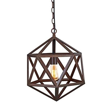 Ohr Lighting® ED273P Edison Polyhedron Large Pendant Light Fixture With Edison Bulb, Matte Black