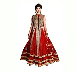 Justkartit Women's Designer Anarkali Style Georgette Dress Material