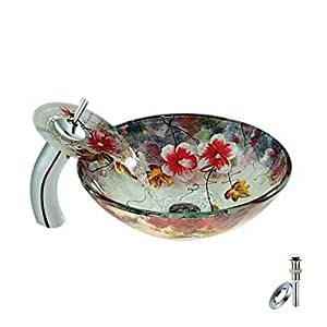 kimi Flower Round Tempered glass Vessel Sink With Waterfall Faucet