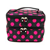 DEDC Double Layer Cosmetic Bag Black with Pink Dot Travel Toiletry Cosmetic Makeup Bag Organizer With Mirror