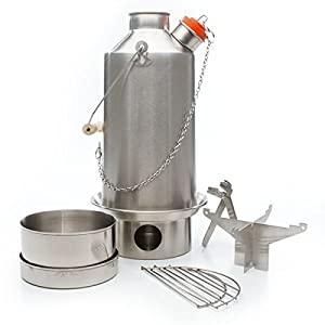 NEW MODEL 'Base Camp' Kelly Kettle® - BASIC KIT (1.6ltr Stainless Steel Kettle + Steel Cook Set + Steel pot support) All Welded Construction. No Rivets. Camping Kettle and Camp Stove in one. Ultra fast lightweight wood fuelled stove. NO Batteries, NO Gas, NO Fuel costs! For fishing, hunting, scouts, etc. Weight 1.62kg / 3.56lb