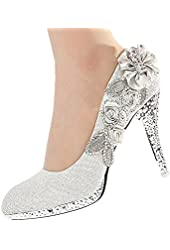 Getmorebeauty Women's Silver Lace Flower Pearls Closed Toes Wedding Shoes