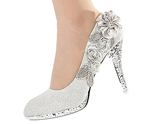 Getmorebeauty Women's Silver Lace Flower Pearls Closed Toes Wedding Shoes 9 B(M) US