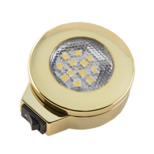 12 Volt Bright White Surface Mount Switched Polished Brass Overhead Light
